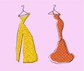 Glamor Girl's Wardrobe, Gold and Red Evening Gowns