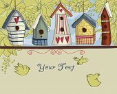 Birdhouses, fundo horizontal