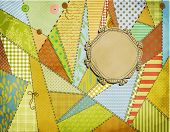 Sunny Patchwork Background, sewn together with various stitches and a hand drawn label