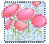 Whimsical Pink Flowers Background - use it to display family photos or as cute journal text plates