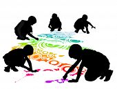 stock photo of person silhouette  - children draw on the floor by chalk - JPG