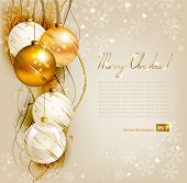 elegant Christmas Background with gold und weiß Abend Bälle