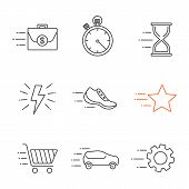 Motion Linear Icons Set. Flying Briefcase, Stopwatch, Hourglass, Sneaker, Star, Cogwheel, Car, Fast  poster