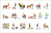 Breeding Animals Farmland. Farm Profession Worker People Breeding Livestock. Set Of Colorful Cartoon poster