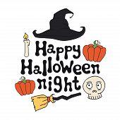 Happy Halloween Night. Halloween Theme. Handdrawn Lettering Phrase. Design Element For Halloween. Ve poster