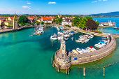 Scenic Summer Aerial View Of The Old Town Pier Architecture In Lindau, Bodensee Or Constance Lake, G poster