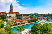 Scenic Summer View Of The Old Town Architecture Of Bern And Aare River Embankment In Berne, Switzerl poster