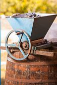 Vintage Old Grind Machine. Homemade Ecological Wine Production On The Farm. The Whole Process In Set poster