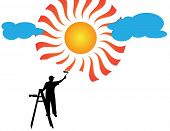 Painter painting sun and clouds