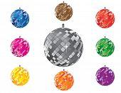Set of shining disco balls (easy editable)