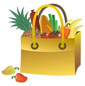 Yellow bag with food