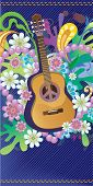 Composition with guitar, flowers and symbol of peace