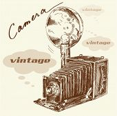 Постер, плакат: рука нарисованные старый фотоаппарат