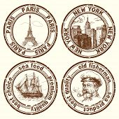 stock photo of brig  - travel stamps - JPG