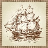 stock photo of brig  - sailing ship - JPG