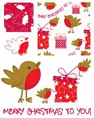 Cute vector Robin. Use to create Christmas greetings.  All patterns are repeat.