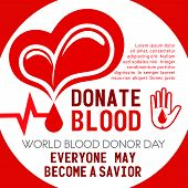 Donate Blood Poster Of Heart And Helping Hand For Donor Day Or Social Volunteering. Vector Blood Dro poster
