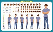 Young Man In Casual Clothes. Character Creation Set. Full Length, Different Views, Emotions, Gesture poster