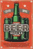Beer Brewery House Retro Poster Of Craft Or Lager Beer In Bottles And Cans. Vector Vintage Design Wi poster