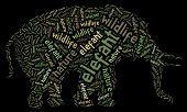 Textcloud: silhouette of elefant