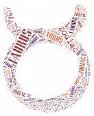 Textcloud: silhouette of taurus