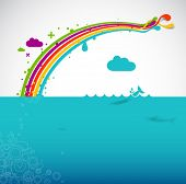 rainbow over the ocean - modern vector illustration
