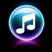neon glossy web icon - music