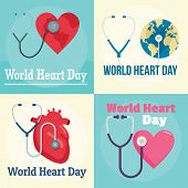 World Heart Day Core World Doctor Medical Banner Concept Set. Flat Illustration Of 4 World Heart Day poster