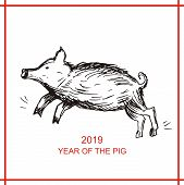 Pig. Zodiac Chinese Symbol. Silhouette Of A Pig, A Boar. Vector Sketch Illustration. Template Banner poster