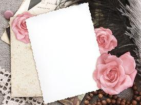 image of rose flower  - grunge paper for congratulation - JPG
