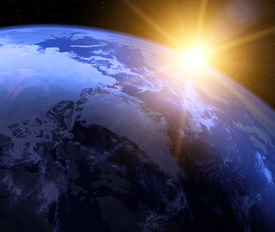 picture of planet earth  - Planet earth with sunrise in space - JPG