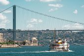 Iconic shot of Istanbul Bosphorus Bridge, Ortakoy Mosque and the ship