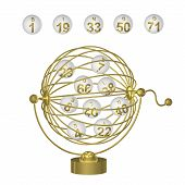 Bingo Balls In Gold Cage