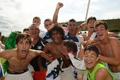 KAPOSVAR, HUNGARY - JULY 21: Brescia players celebrate at the VIII. Youth Football Festival U17 Fina