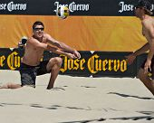HERMOSA BEACH, CA - JULY 21: Mark Williams and Stein Metzger compete in the Jose Cuervo Pro Beach Vo
