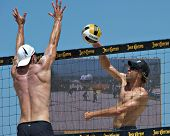 HERMOSA BEACH, CA - JULY 21: John Hyden and Stein Metzger compete in the Jose Cuervo Pro Beach Volle