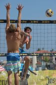 HERMOSA BEACH, CA - JULY 21: Derek Olson and Avery Drost compete in the Jose Cuervo Pro Beach Volley