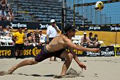 HERMOSA BEACH, CA - JULY 21: Stein Metzger  competes in the Jose Cuervo Pro Beach Volleyball tournam