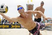 HERMOSA BEACH, CA - JULY 21: Casey Patterson competes in the Jose Cuervo Pro Beach Volleyball tourna