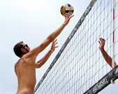 HERMOSA BEACH, CA - JULY 21: Ryan Doherty competes in the Jose Cuervo Pro Beach Volleyball tournamen