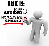 A man presses a button for the idea that Risk is Necessary for Change instead of to Be Avoided, symb