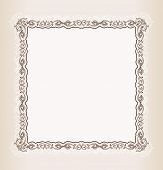 Vector vintage Square frame retro pattern ornament white