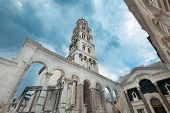 The bell tower of the diocletian palace in Split, Croatia.