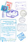 Assorted passport stamps and visa's from Sydney Australia, Larnaca Cyprus, visa s issued in Los Ange