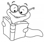 Outlined book worm