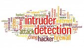 Intruder detection concept in word tag cloud on white background