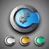 Glossy 3D web 2.0 settings symbol icon set. EPS 10.