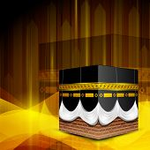 Beautiful View of Qaba or Kabaa Shareef on shiny wave background. EPS 10.