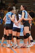 KAPOSVAR, HUNGARY - MARCH 16: Kaposvar players celebrate at the Hungarian Championship volleyball ga
