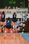 KAPOSVAR, HUNGARY - MARCH 16: Petra Horvath (R) in action at the Hungarian Championship volleyball g